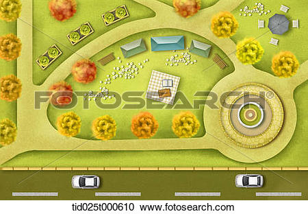 Stock Photography of top down view illustration of a road and park.