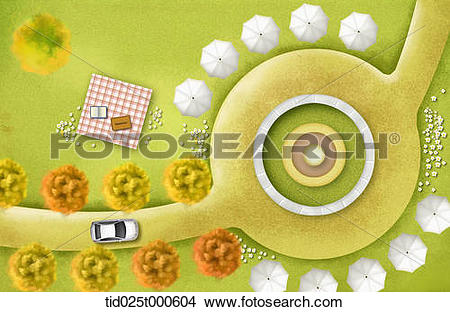 Stock Photo of top down view illustration of a road and park.
