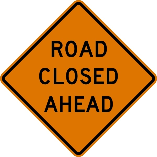 Road Closed Ahead Sign clip art Free vector in Open office drawing.
