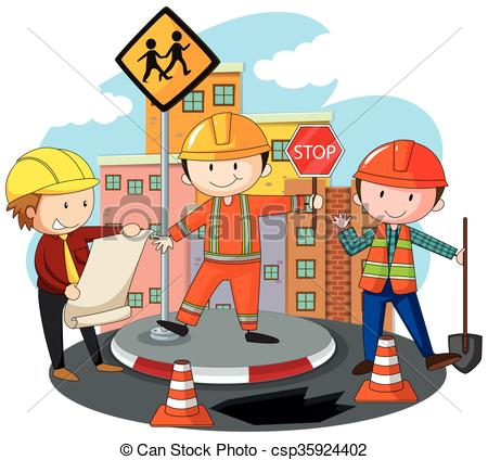 Road construction workers clipart