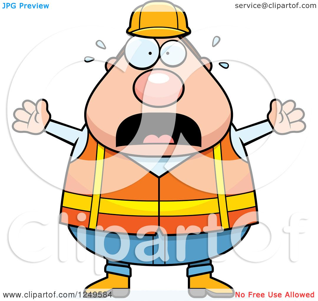 Clipart of a Scared Screaming Chubby Road Construction Worker Man.