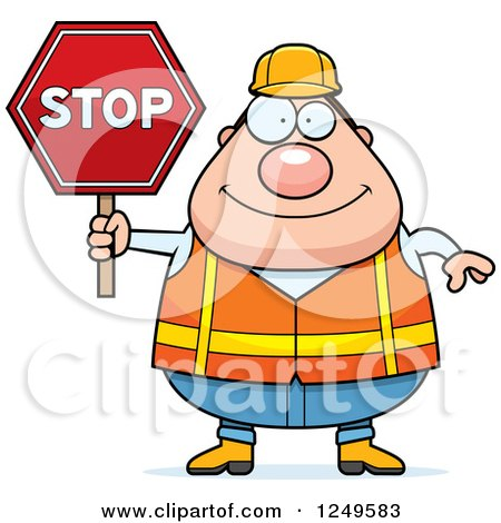Clipart of a Careless Shrugging Chubby Road Construction Worker.