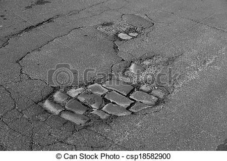 Stock Photography of pothole / road damage csp18582900.
