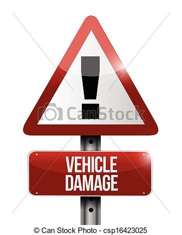 Vector Illustration of vehicle damage road sign illustration.