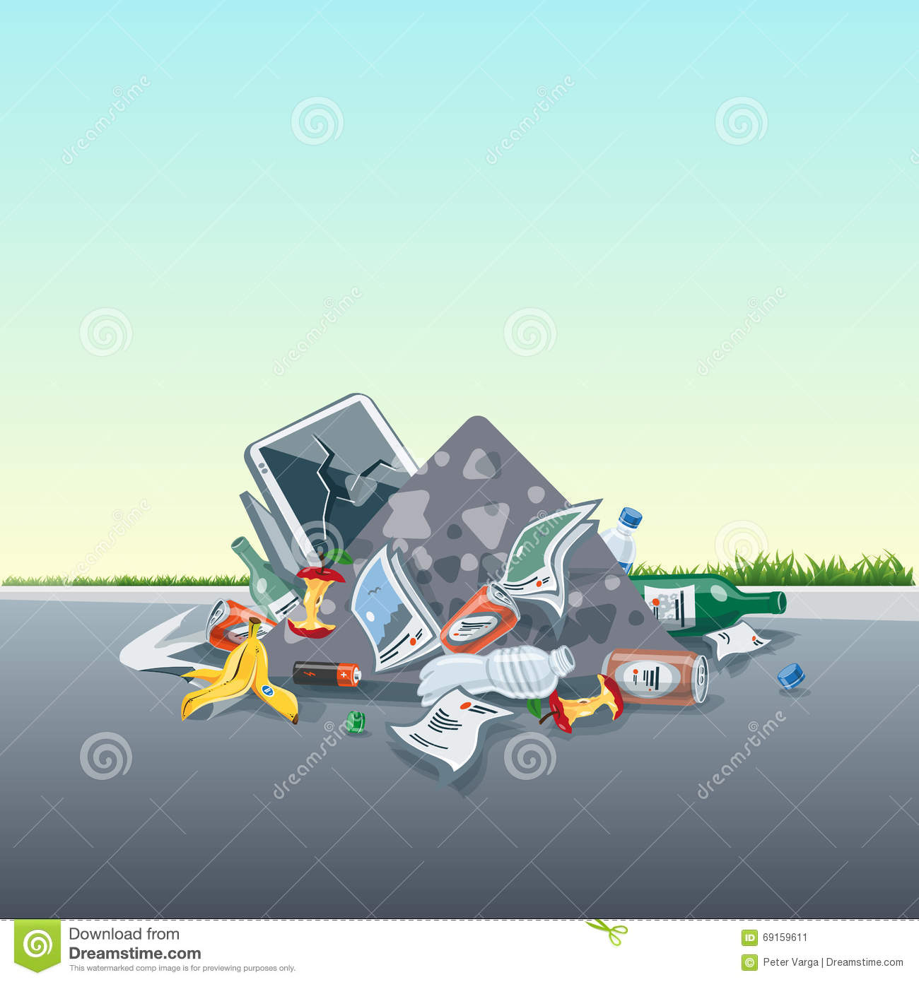 Littering Garbage Trash Stack On The Street Road Stock Vector.