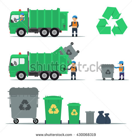 Garbage Truck Stock Images, Royalty.