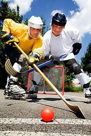 Street Hockey Fight Stock Photo.