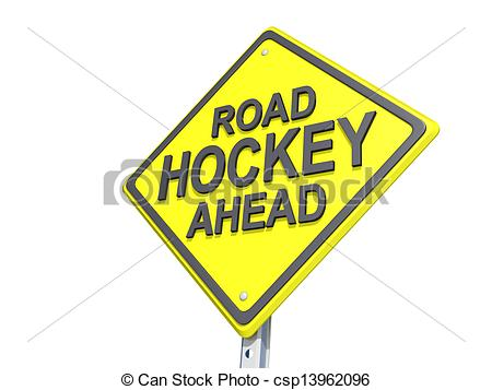 Stock Photographs of Road Hockey Ahead Yield Sign White Background.