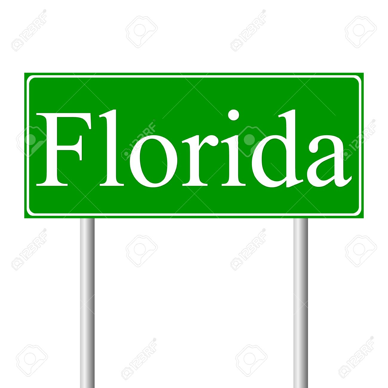 Florida Green Road Sign Isolated On White Background Royalty Free.