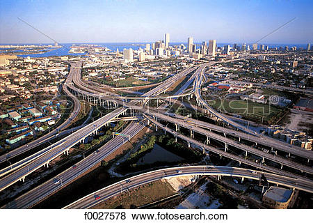 Pictures of United States, Florida, Miami, road network f0027578.