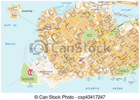 EPS Vector of key west road map florida united states.