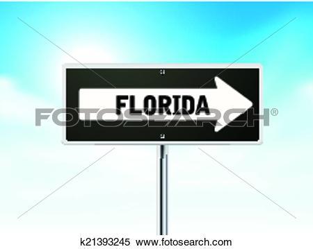 Clipart of Florida on black road sign k21393245.