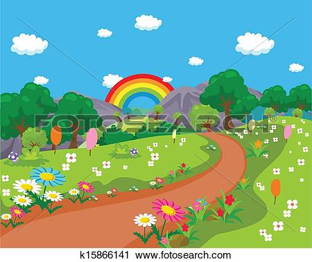 Clipart of Forest and road background landscap k15866141.