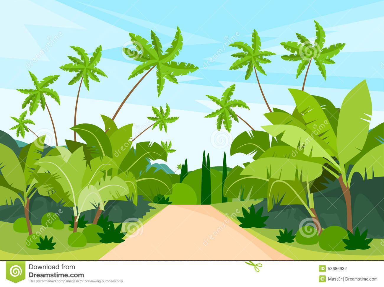 Jungle Forest Green Landscape With Road Path Stock Vector.