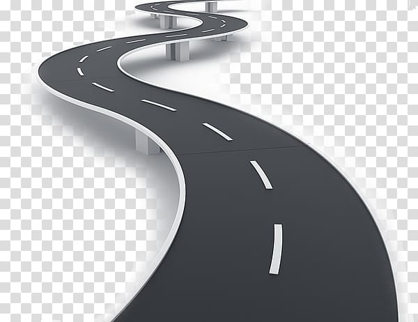Black concrete road , Technology roadmap Road map Strategic.