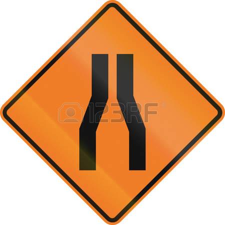 171 Road Narrow Traffic Sign Stock Vector Illustration And Royalty.