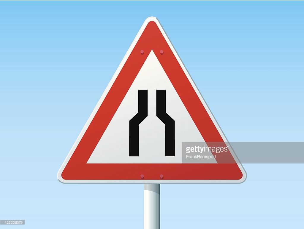 Road Narrows On Both Sides German Warning Sign Vector Art.