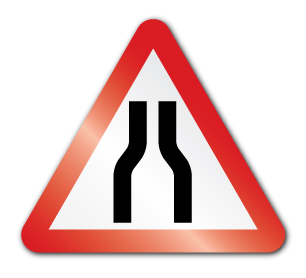 Road narrows on both sides ahead symbol (Post/Fence Fix).