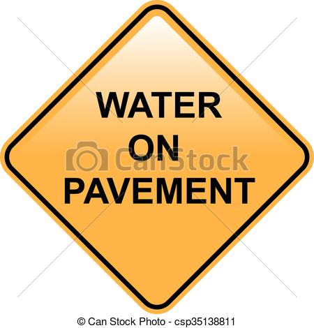 Vector Clip Art of Water on Pavement Sign Flooded Area and Road.