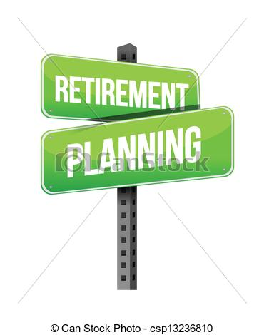 Vector Clip Art of retirement planning road sign illustration.