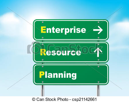 Clip Art Vector of 3d enterprise resource planning road sign.
