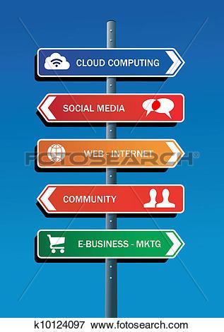 Clip Art of Social media plan road post k10124097.