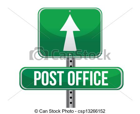 Clipart Vector of post office road sign illustration design over a.