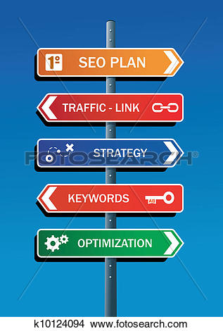 Clipart of SEO plan steps road post k10124094.