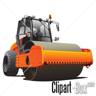CLIPART ORANGE ROAD ROLLER.