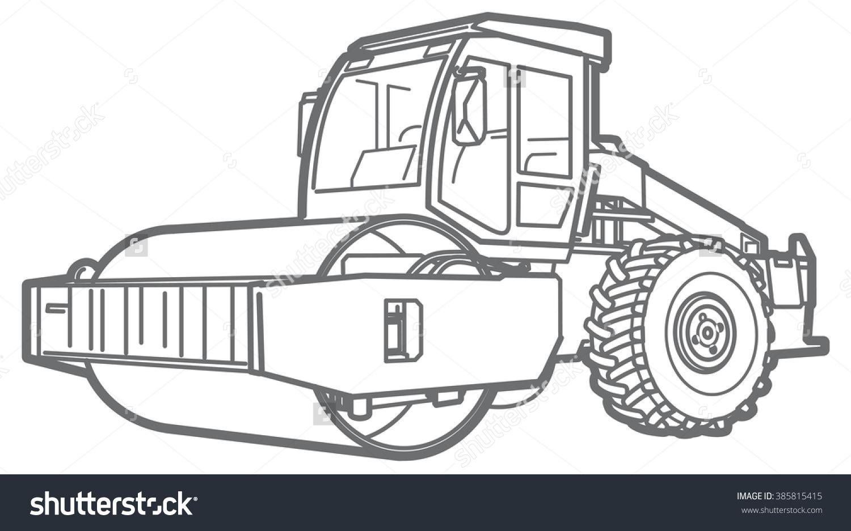 Road Roller Outline Asphalt Paver Stock Vector 385815415.