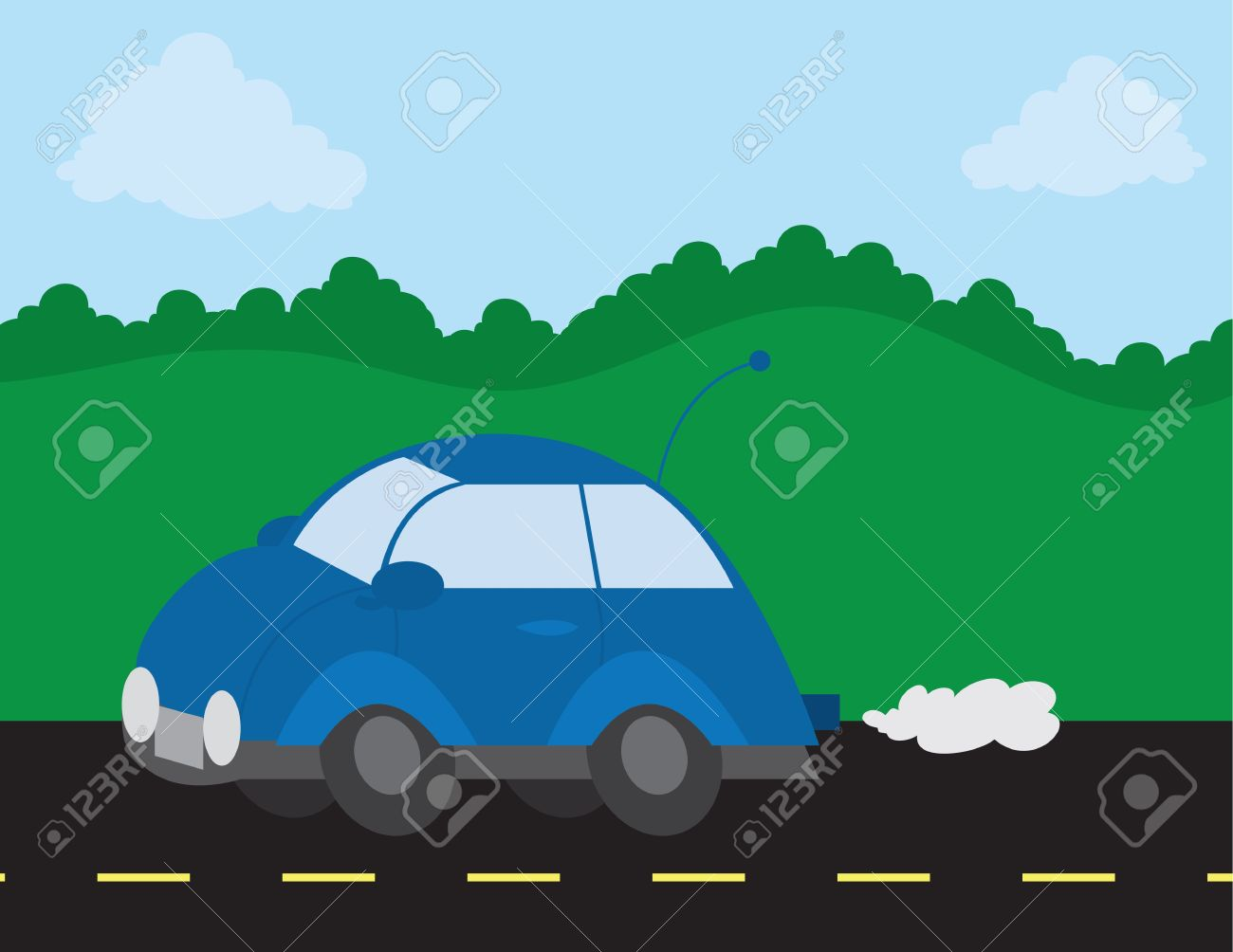 Outside Scene With Car On The Road Royalty Free Cliparts, Vectors.