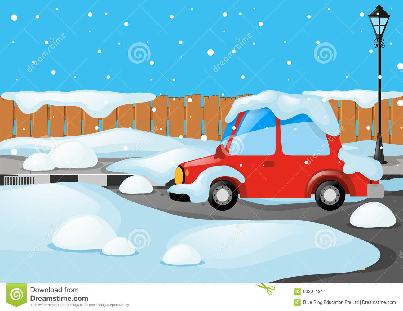 Road Scene With Car Covered By Snow Stock Vector.