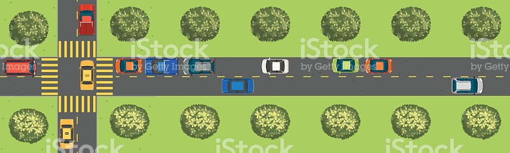Scene With Cars On The Road stock vector art 637509440.