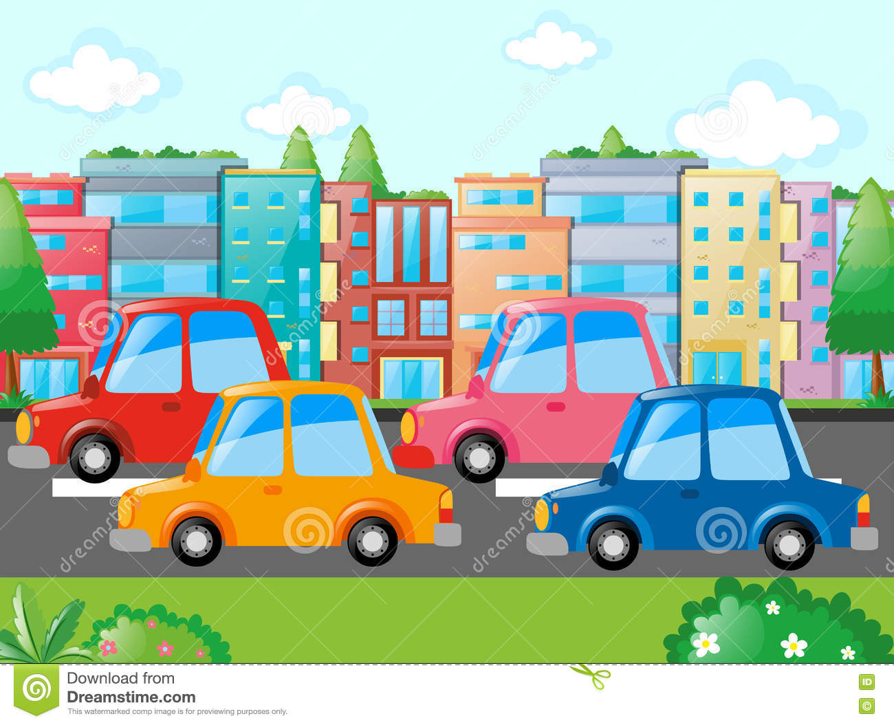 Scene With Many Cars On Road Stock Vector.