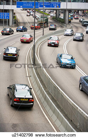 Pictures of Scene of cars running on road,Hong Kong u21402798.