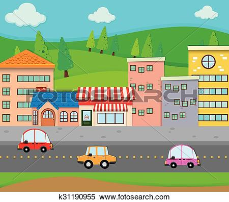 Clipart of City scene with cars on the road k31190955.