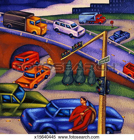 Stock Illustration of Road scene: traffic, overpass, intersection.