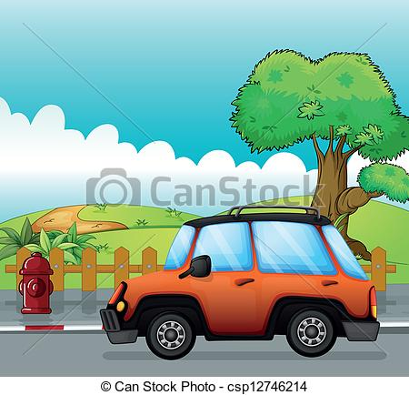 Vector Clip Art of Orange car on a road and fire hydrant.