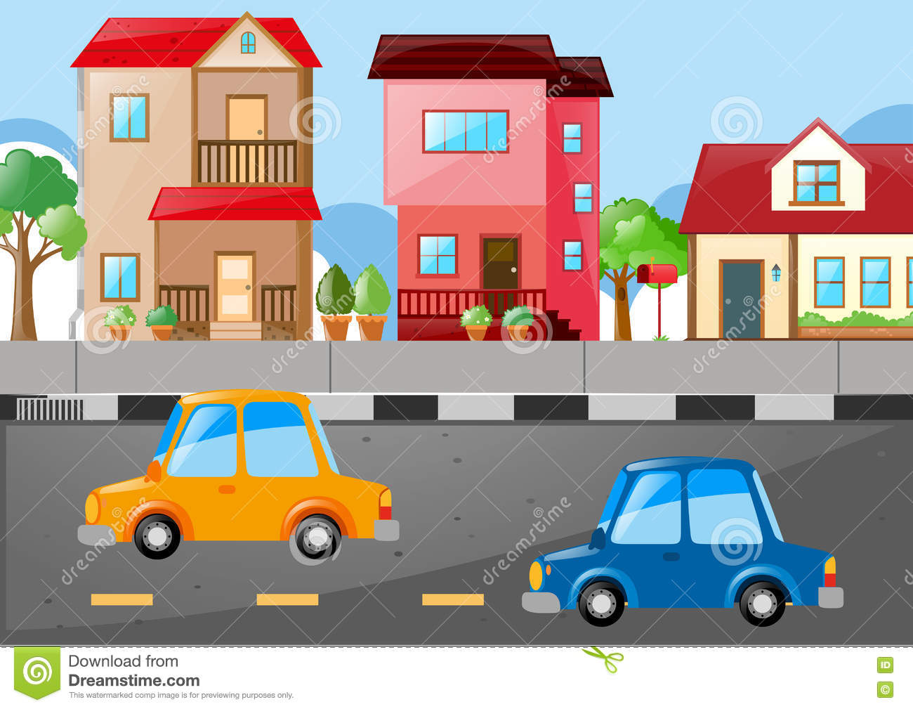 Scene With Houses And Cars On The Road Stock Vector.
