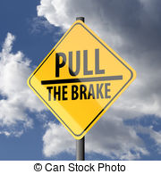 Road sign yellow with words pull the brake Illustrations and Stock.