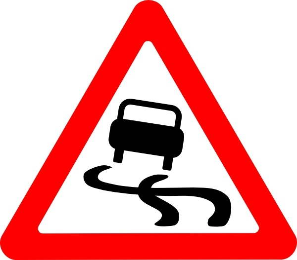 Slippery Road Sign clip art Free vector in Open office.