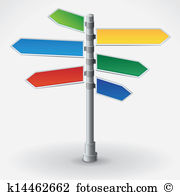 Empty road signs pointing different directions Clip Art.