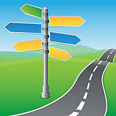 Clip Art of Empty road signs pointing in different directions.