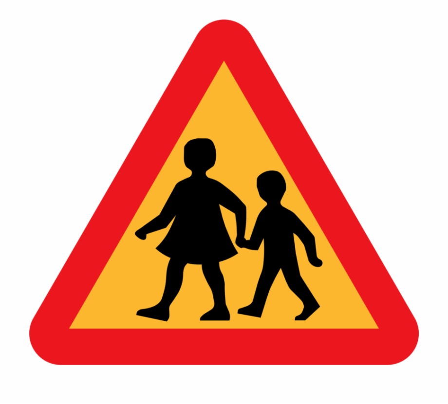 Child And Parent Crossing Road Sign Clip Art Free Vector.