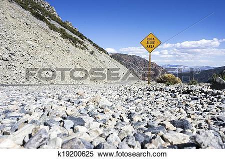 Stock Image of Rock Slide Area Sign k19200625.