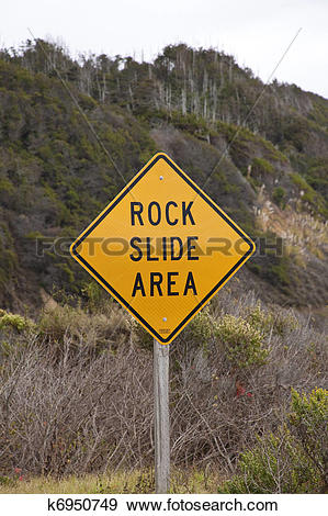 Stock Photograph of Road Sign Rock Slide Area k6950749.