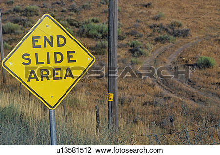 """Stock Photo of A sign that reads """" End Slide Area"""" u13581512."""