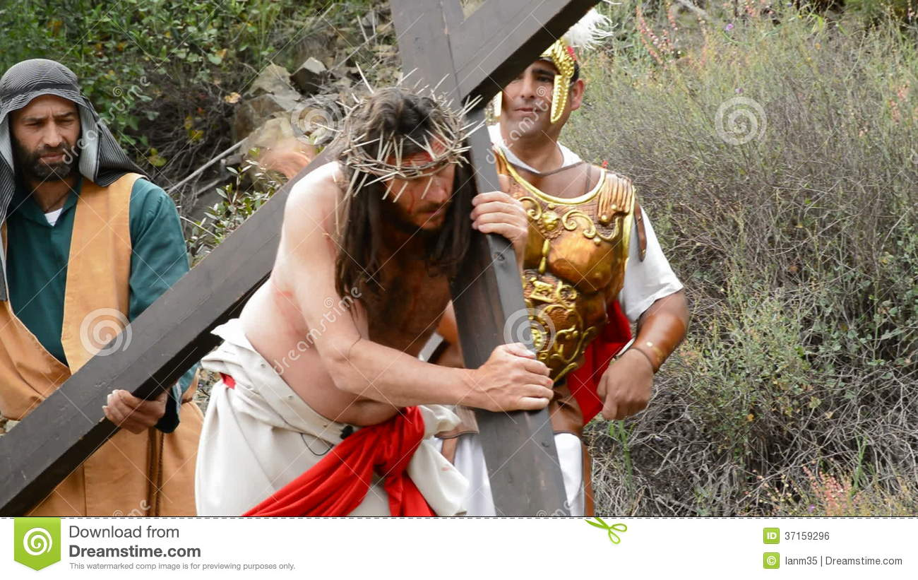 Christ Carrying The Cross Road To Calvary 2 Stock Footage.