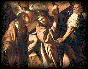 Jesus being forced to carry the cross of his crucifixion on the.
