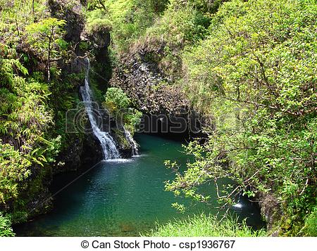 Picture of Waterfalls along the Road to Hana, Maui, Hawaii.